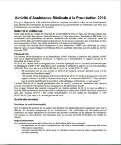 Activité d'Assistance Médicale à la Procréation 2010