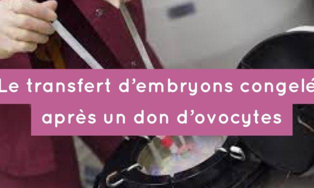 Le transfert d'embryons congelés (TEC) après un don d'ovocytes